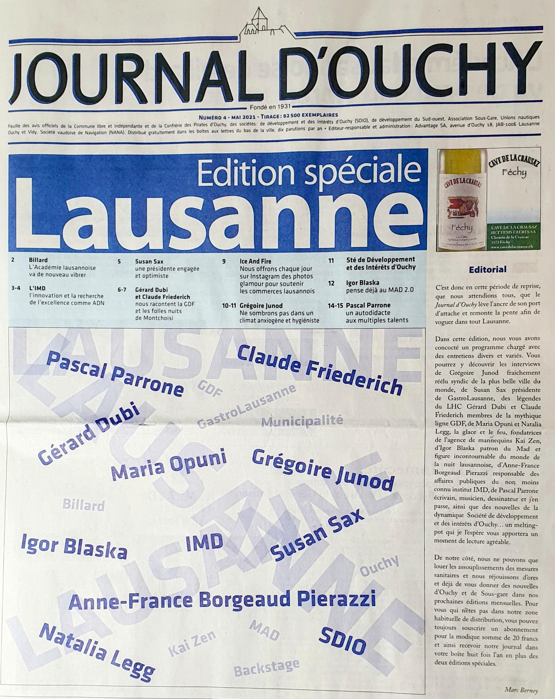 4e édition du Journal d'Ouchy, 6 mai 2021, distribué dans tout Lausanne