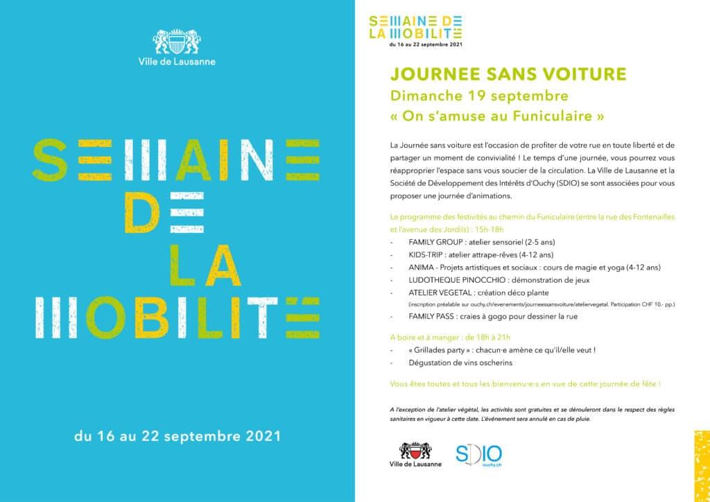 Semaine de la mobilité: Journée sans voiture dimanche 19 septembre 2021 au chemin du Funiculaire à Lausanne-Ouchy, organisé par la SDIO.
